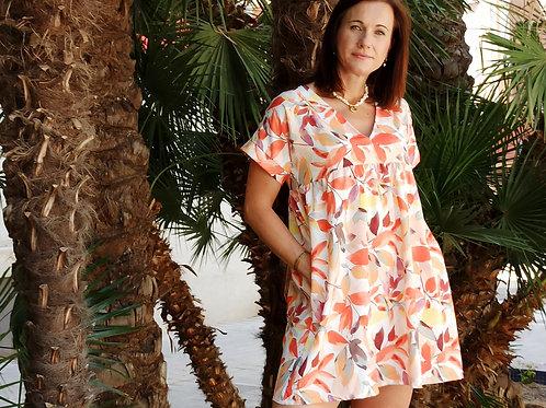 Vestido Flores Edurne Naranja