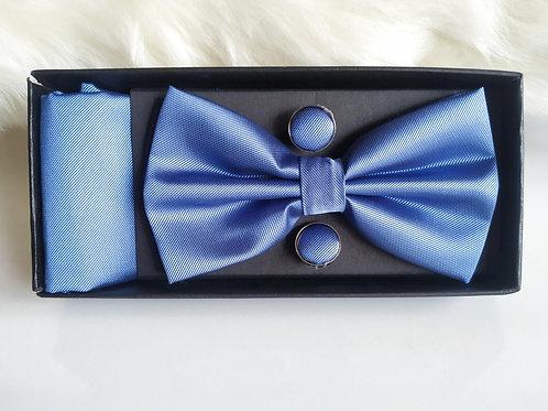 Set Pajarita Pañuelo y Gemelos Azul