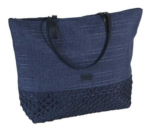 Bolso de Playa Lona y Crochet Azul