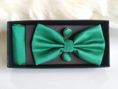 Set Pajarita Pañuelo y Gemelos Verde Césped