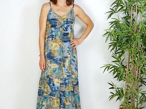 Vestido Estampado Azul Katia
