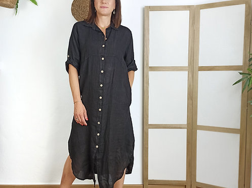 Vestido Largo Lino Mireia Negro