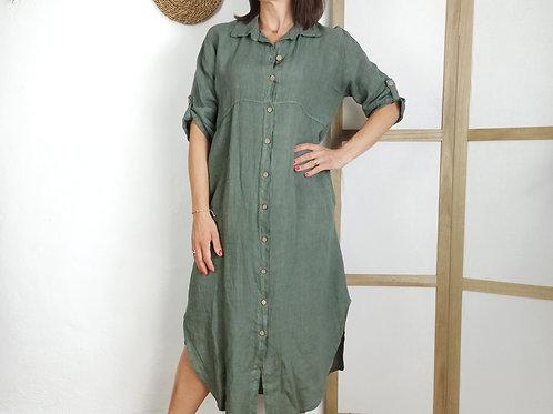 Vestido Largo Lino Mireia Verde
