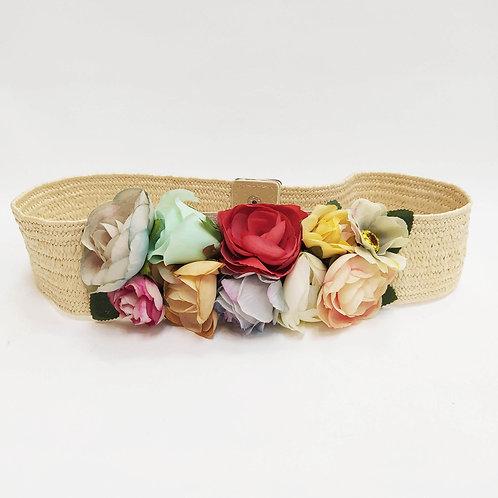 Cinturón Elástico Rafia Flores