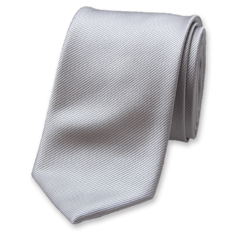 Corbata Gris Perla Estrecha