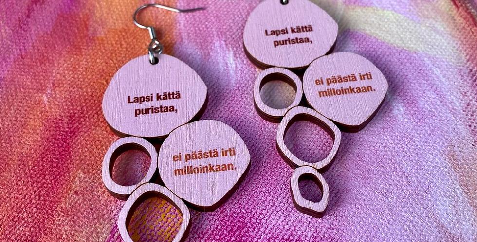 Child's love earrings, pink