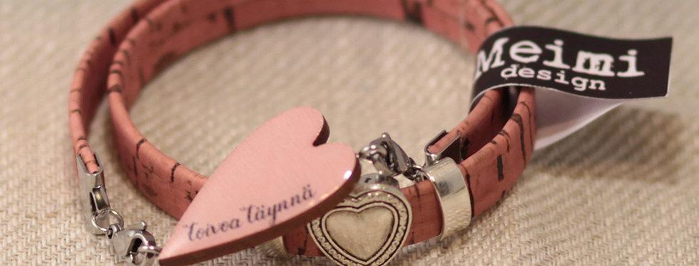 """Toivoa täynnä """"Full of hope"""" - Cork wristband - Pink"""