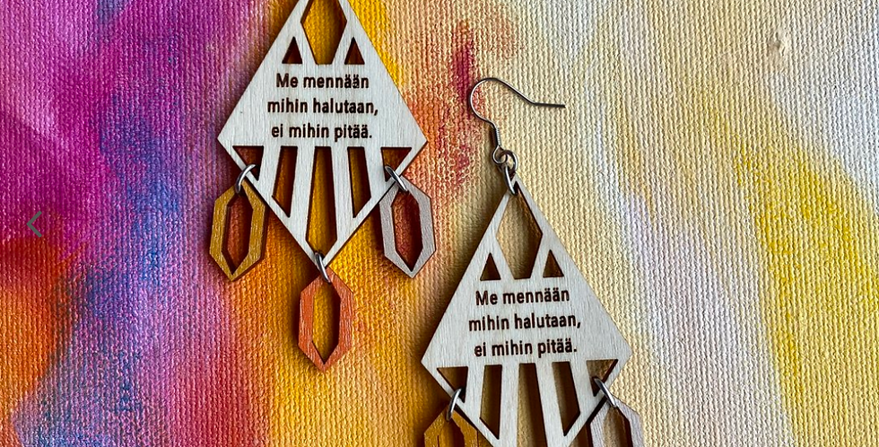 Let's go earrings, birch: okra-orange-gray