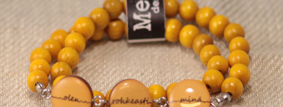 "Olen rohkeasti minä ""I am boldy me"" wraparound bracelet - yellow"