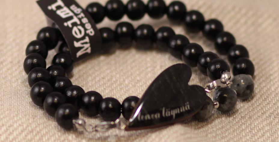"""Toivoa täynnä """"Full of hope"""" - pearl bracelet wrapped - black"""