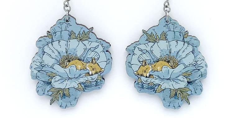 Unikko earrings, blue