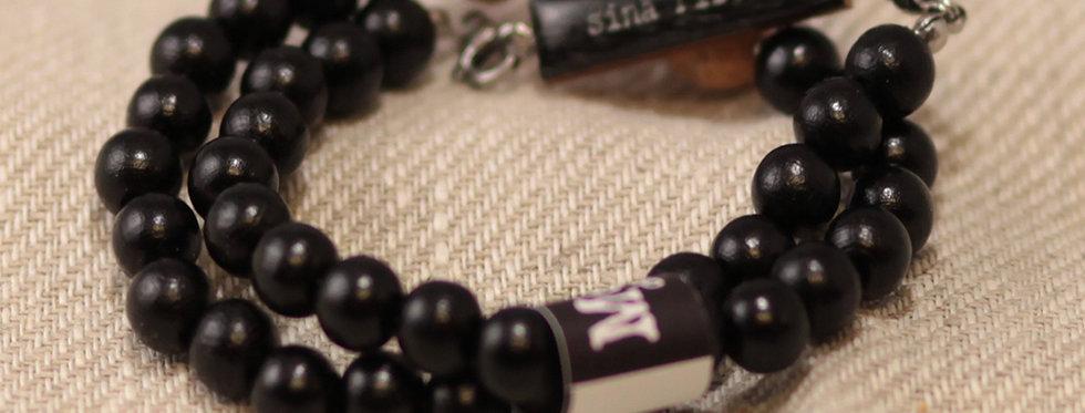 "Sinä riität ""You are enough"" - cork bead bracelet in a wrap-around - black"