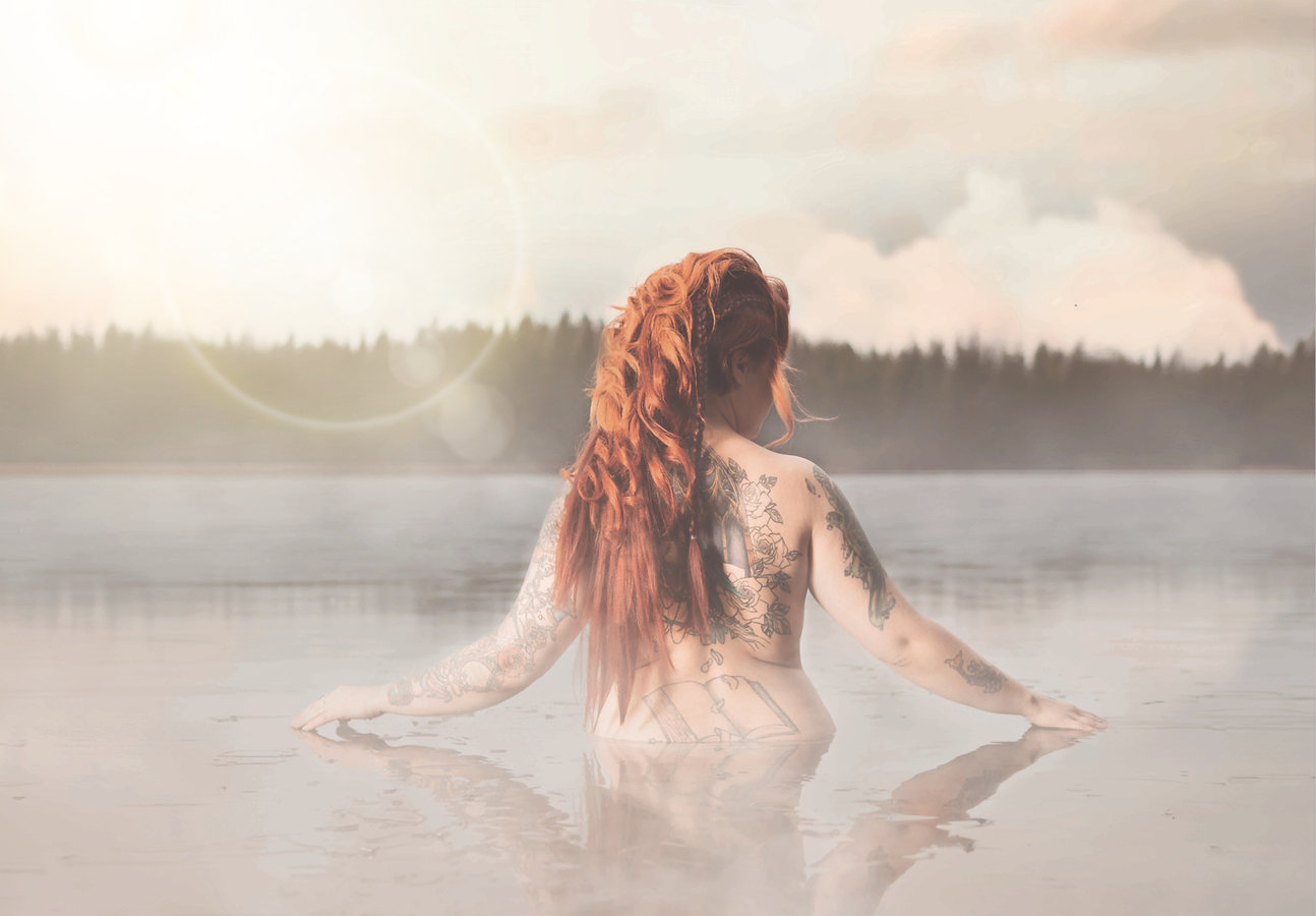 Lady in icy lake