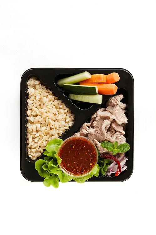 Spicy shredded pork tenderloin salad