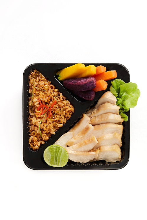 Tom yam fried brown rice & grilled chicken breast