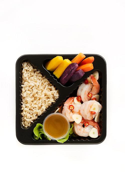 Steamed shrimp with lemon