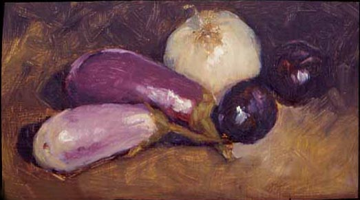 eggplant with onion and plums