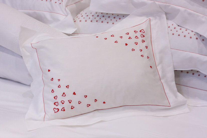 Baby Pillow - Red Hearts