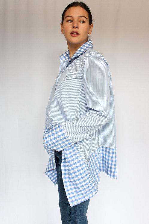 VICTORIA - Blue and White Stripe & Check