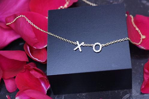 IRENE DANILOVICH - Yellow & White Gold and Diamond XO: Love & Kisses Necklace