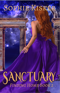 The cover of Sanctuary - Jenny, in a putple gown, running towards an an archway and stars
