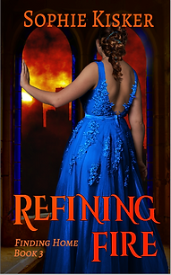 REfining Fire - Jenny is a royal blue dress gazing out a clerestory window at her burning city