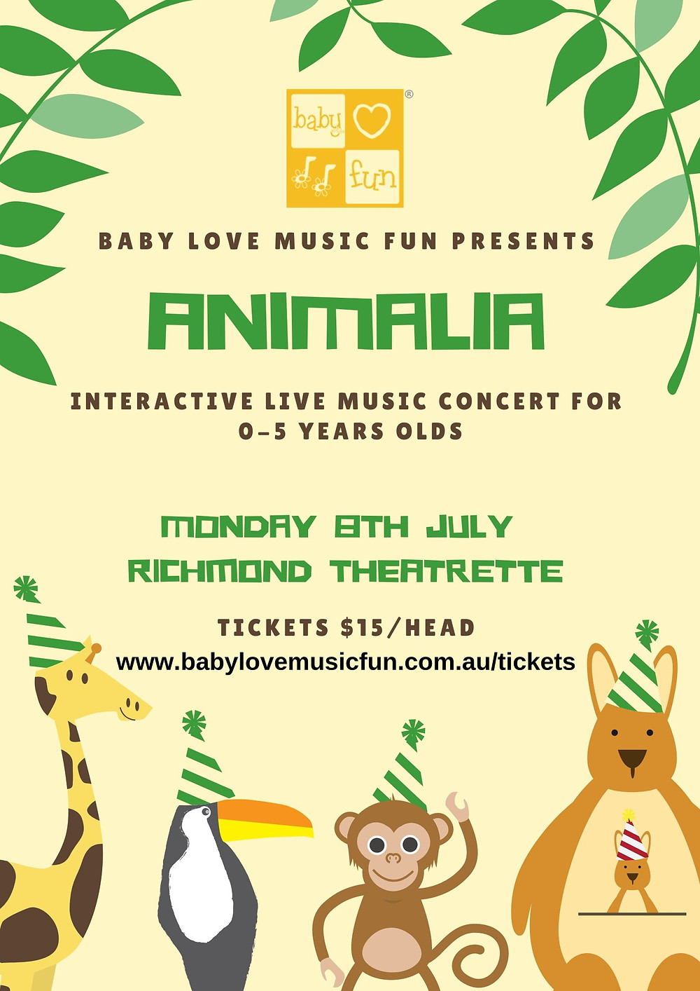 Animalia Music Concert Monday 8 July