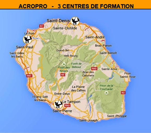 ACROPRO - Carte des Centres de Formation Réunion 974