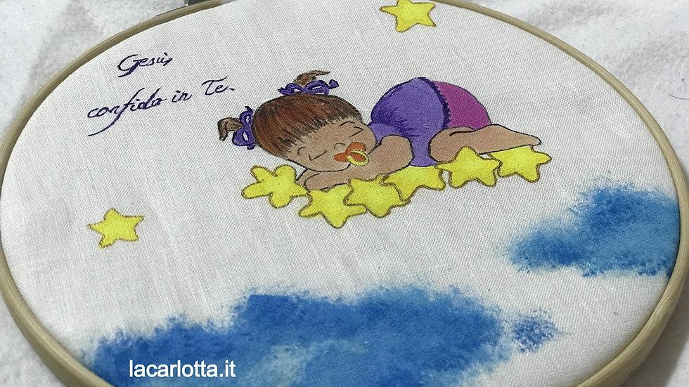 Dipinto bimba su stelle su lino