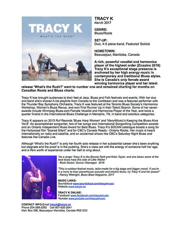 Tracy K Promo Sheet