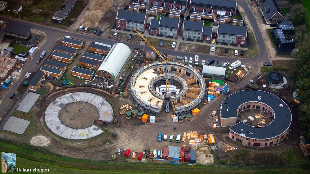 Ecodorp Boekel in aanbouw. Luchtfoto door: Jeroen Komen van 'Ik kan vliegen'.