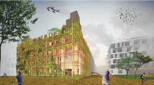 Artist impression van duurzaam wooncomplex De Warren in Amsterdam