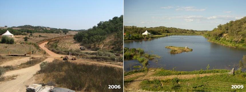 Het waterretentielandschap, voor en na. Bron: Tamera