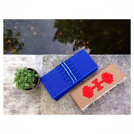 MELITI blue & AGAVI beige clutches
