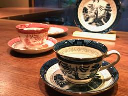 山水コーヒー碗皿、19cmケーキ皿(赤)(青)