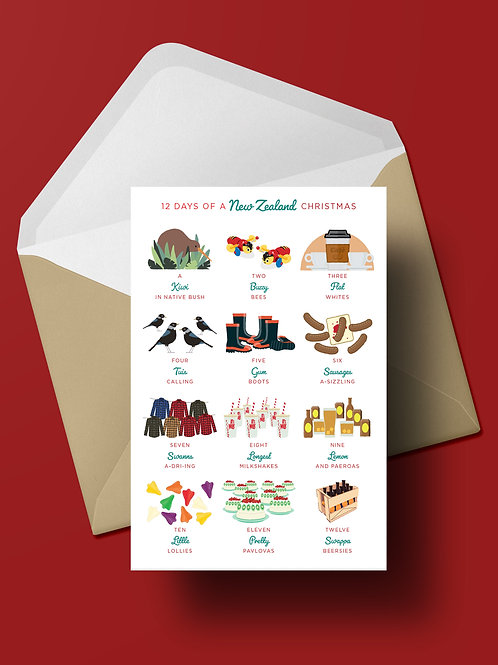 12 DAYS OF A NZ CHRISTMAS CARD (wholesale)