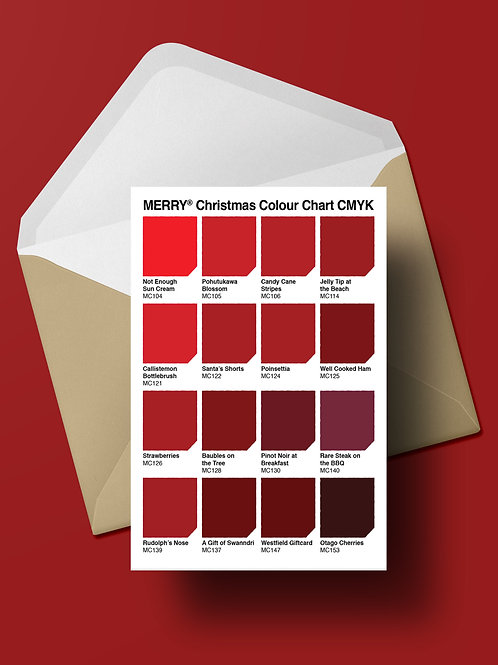 COLOUR CHART CHRISTMAS CARD (wholesale)