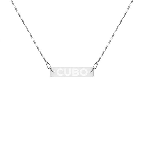 CUBO Brand Engraved Bar Chain Necklace