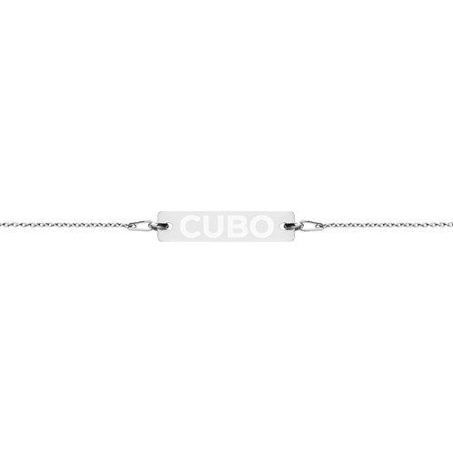CUBO Brand Engraved Bar Chain Bracelet