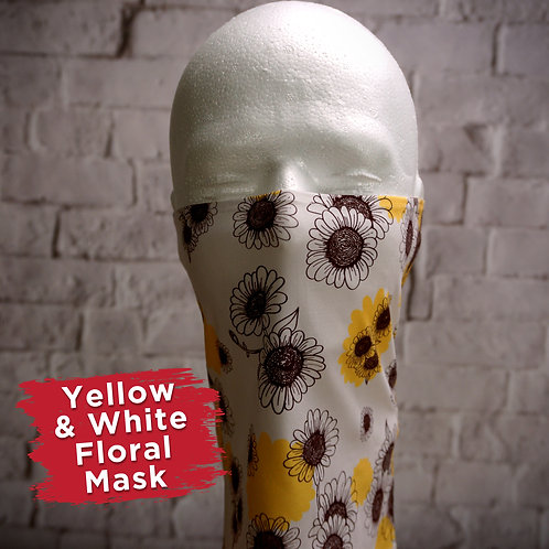 Yellow and White Floral Face Covering Gaitors
