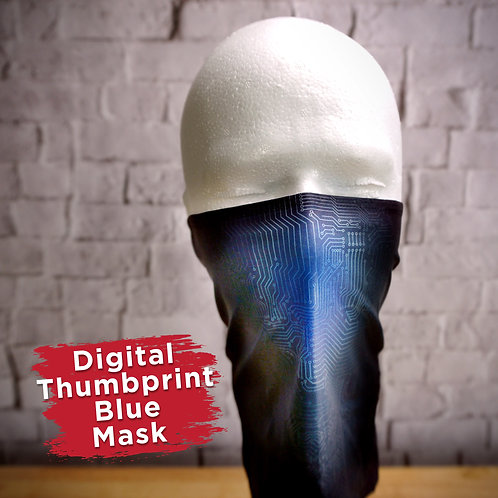 Digital Thumbprint Blue Face Covering Gaitors