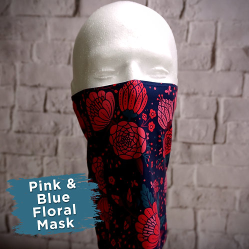 Pink and Blue Floral Face Covering Gaitors
