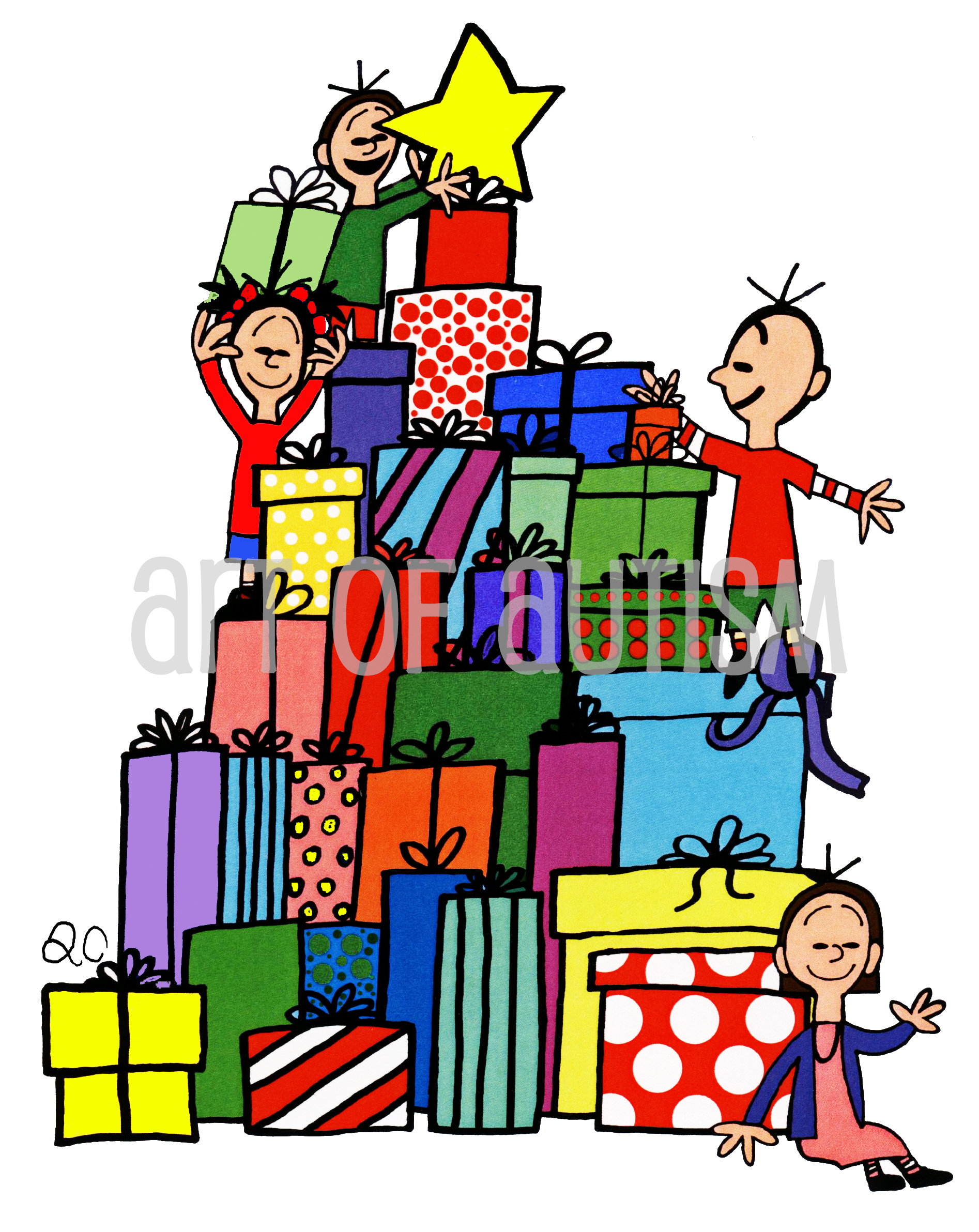 11-041 Kids on Top of Presents