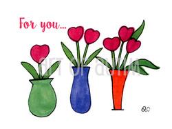 11-004Three Heart Vases
