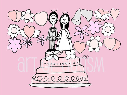 11-023 Wedding Cake Bride and Groom