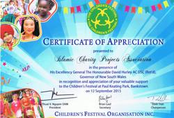 Certificate of Appreciation Children Festival Organisation - 2015
