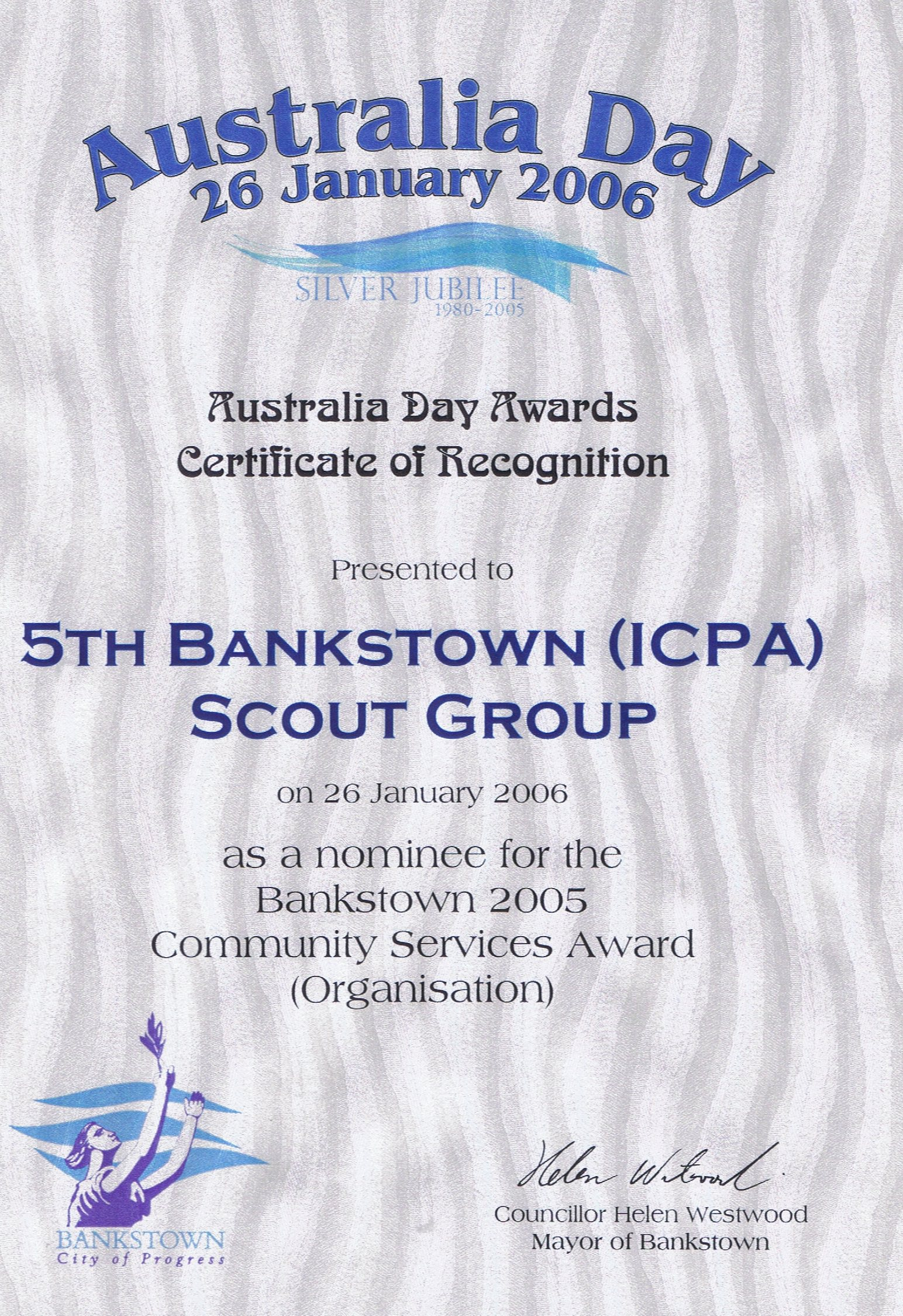 Australia Day Award Certificate of Recognition - 2006