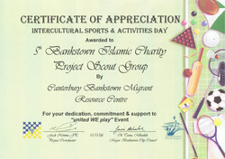 Certificate of Appriciation Intercultural Sports & Activities Day - 2006