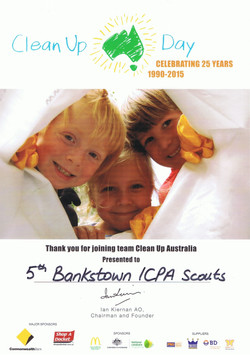 Clean Up Australia Day Certificate of Participation - 2005