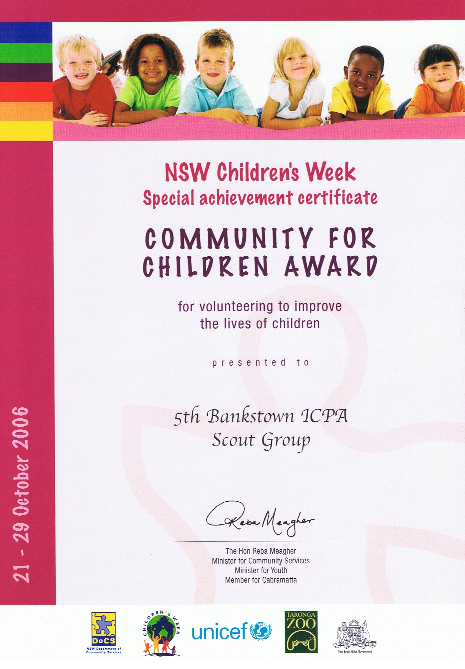 Community for Children Award NSW Children's Week - 2006